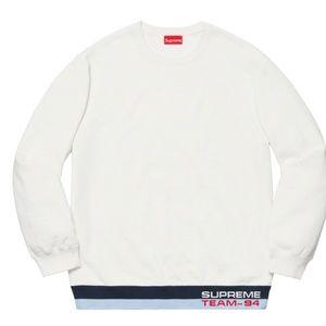 Supreme Rib Stripe White Crewneck Sweatshirt Med